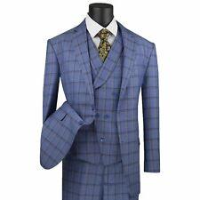 VINCI Men's Blue Windowpane 3 Piece 2 Button Classic Fit Suit NEW