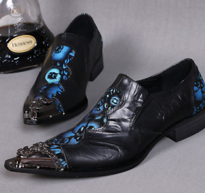 Mens Genuine Leather Shoes Metal Pointed Floral Toe Casual Flat Wedding Slip-on