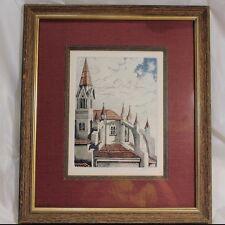 "Framed Watercolor Picture ""St. Luke's Late"" Deluxe Matt Signed M Quinnan Whittle"