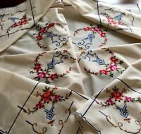 """Vintage Hand Embroidered Dark Cream Sand Cotton Tablecloth """" Roses """" 48x50 Inch"""