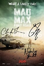 "Mad Max Fury route Poster Photo 12x8 ""signé PP 3 fonte Tom Hardy Nicholas Hoult un"
