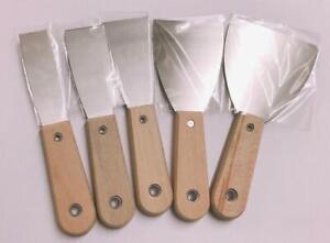 SET OF 5 STAINLESS STEEL WALLPAPER STRIPPER PUTTY KNIFE SCRAPER REMOVER SPREADER