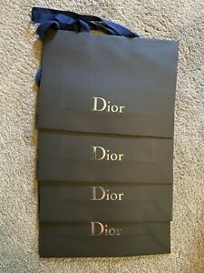 4 CHRISTIAN DIOR LARGE SIZE GIFT BAG / SHOPPING TOTE / SILVER LOGO NEW