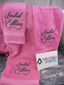 Limited Edition Personalized 3 Piece Bath Towel Set  Any Color