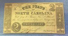 1861 $2 Two Dollar North Carolina Note Confederate Civil War