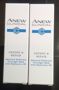 2 x Avon ANEW Clinical Defend and Repair Advanced Hydration Overnight Mask 10ml