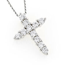 2.0CT ROUND CUT CROSS DIAMOND PENDANT 18K WHITE GOLD OVER CROSS NECKLACE GIFT