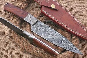 HUNTEX Custom Handmade Damascus Steel 300mm Long Walnutwood Handle Kitchen Knife
