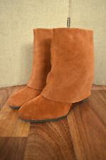 FRENCH CONNECTION Rafaela Tan suede leather wedge sheath ankle boots UK 3 36
