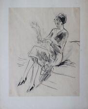 Femme en tailleur Crayon gras original ca 1930 provenant des Ateliers R PICHON