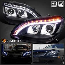 98-06 Benz W220 S-Class Black DRL Strip LED Signal Projector Headlights