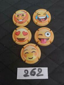capsule de champagne GENERIQUE SMILEY SMILE 5 CAPS GROSSE COTE RARE (262)