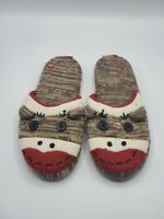 Nick and Nora Adult Sock Monkey Slippers Size XL 9½-10½  Slip-on Pre-owned