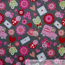 BonEful Fabric Cotton Quilt Gray Red Pink Heart Baby Girl Valentine Dot NR SCRAP