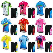 Kids Cycling Clothes Short Sleeve Boys Girls Cycle Jersey and Padded Shorts Kit
