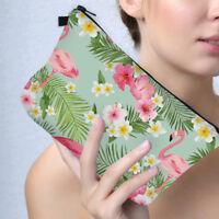 Femmes Tropical Flamant Rose Fleur Feuilles Stylo Trousse de Maquillage