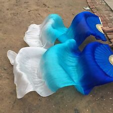 1 pair(L+R) 100%silk veil belly dance fans 1.8m blue+turquoise+white color