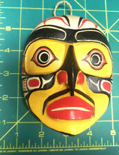 Wood Tribal Style Hawk Mask - hand carved and hand painted - Yellow & black NEW