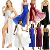 Women's Adult Sleeveless Leotard Bodysuit Ballet Dance Dress Costume Maxi Skirts