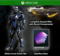 Halo 5 Guardians Athlon Armor Longshot assault rifle & Rare Dianthus Visor DLC