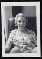 Vintage Antique Photograph Older Woman in Flowered Blouse Sitting in Chair