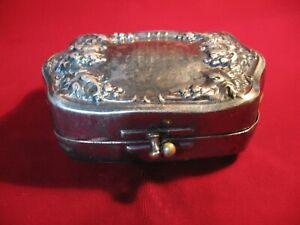 Antique Silverplate Repousse HInged Trinket Jewelry Box