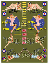 PinUp Decal Waterslide Nose Art Bomber Art WWII Decal  backed by Olive Drab #334