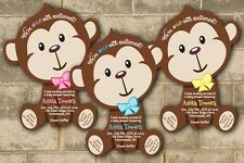 Safari Die Cut Invitations Monkey Theme Baby Shower Cards Invitation QTY of 40