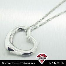 "Tiffany & Co Elsa Peretti Sterling Silver 26mm Open Heart Pendant Necklace 18"""