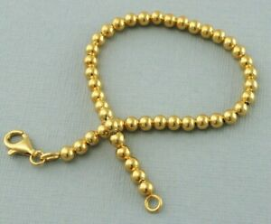 """9ct Gold on Sterling Silver 4mm Bead Ball Chain Bracelet 7.5"""" - 925 Silver"""