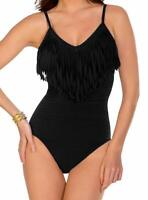 Magicsuit BLACK Blaire Fringe Underwire One-Piece Swimsuit, US 10