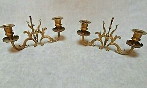 Pair  vintage french brass & bronze candle holders chamber sticks