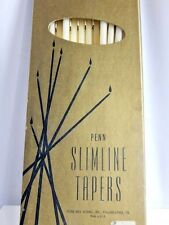 Vintage Penn Slimline Tapers Wax Long Tall Retro Mid Century Candles Holiday Lot