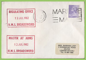 G.B. 1982 H.M. Forces S. Atlantic, Maritime Mail, HMS Broadsword Ship cachet