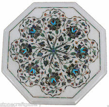 """18"""" Marble Corner White Round Table Top Inlay Art For Home Decor & Gift"""