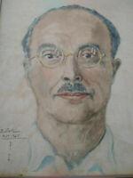 Grande aquarelle portrait artiste japonais signée 1945 Saito ? cadre