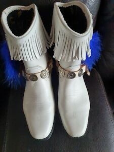 White Leather Fringe tassel boots Step into stirrups line dancing size 5 ex cond