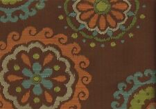 Richloom Fabric Arial Chocolate  Brown Aqua Green Cinnamon Upholstery