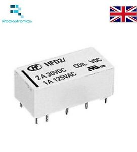5V Coil Bistable Latching Relay DPDT 2A 30VDC  - High Quality Free Postage UK