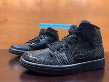 Nike Air Jordan 1 Mid Women's Size 6.5 Triple Black Snakeskin Sneaker BQ6472-010