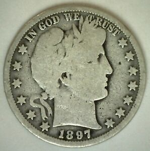 1897 O Barber Half Dollar Silver Type Coin Fifty Cent 50 Cents Circulated Good