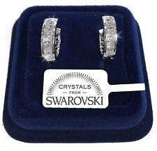 18mm Cerchi Orecchini uomo donna pl. oro bianco 18K con cristalli swarovski SW18