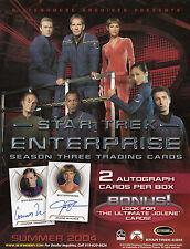STAR TREK ENTERPRISE SEASON 3 trading cards SKYBOX 8x10 PROMO AD SHEET