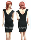 Sexy Black Cocktail Party Club Pencil Dress with Cap Sleeves Size 8 10 12 14 New
