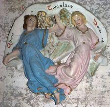 COPPIA DI ANGELI  SCULTURA D'EPOCA  Gloria Excelsis Deo