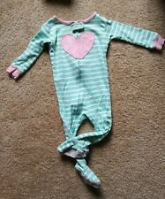 Carters footed pajamas 12 months green and pink heart no stains