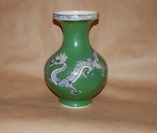 Antique Chinese Porcelain Blue Underglaze Apple Green Overglaze Dragon Vase