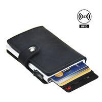 Credit Card Holder RFID Blocking Wallet Leather Vintage Aluminum Slide Pop Out