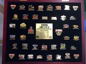1998 Nascar Winston Cup Pin Collection with Framed Glass Display Case On sale