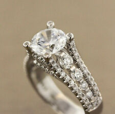 Deco Engagement Ring 925 Sterling Silver Channel Set 2Ct Round Moissanite Art